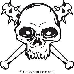 vecteur, tatouage, graphique, 2, crâne