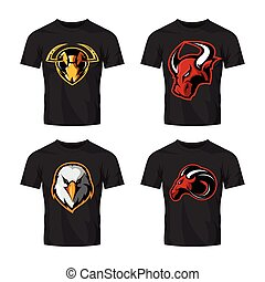 vecteur, taureau, marteau, furieux, fond, isolé, ensemble, logo, blanc, frelon, sport, aigle, concept