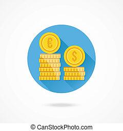 vecteur, taux, échange, icône