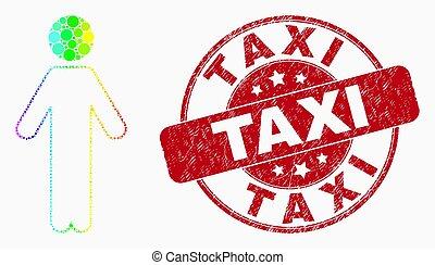 vecteur, taxi, tamponnez icône, personne, gratté, pixel, arc-en-ciel a coloré