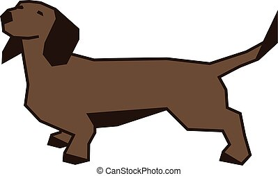 vecteur, teckel, illustration, chien