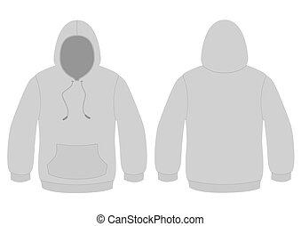 vecteur, template., hoodie