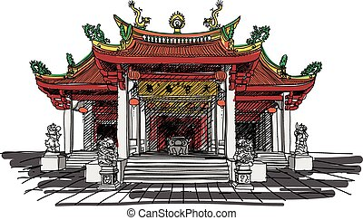 vecteur, temple, chinois