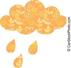 vecteur, temps, gouttes pluie, floral, ornaments., nuage