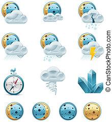 vecteur, temps, icons., p.2, prévision