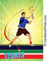 vecteur, tennis, player., coloré, homme
