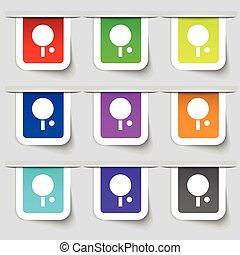 vecteur, tennis, signe., étiquettes, moderne, multicolore, ensemble, table, icône, ton, design.