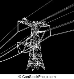 vecteur, tension, silhouette, élevé, lines., illustration, puissance