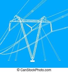vecteur, tension, silhouette, puissance élevée, lines., illustration.