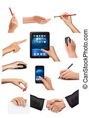 vecteur, tenue, ensemble, différent, objets affaires, illustration, mains