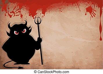 vecteur, tenue, silhouette, trident, yeux, icône, isolé, blanc, agrafe, rouges, avide, art., halloween, illustration, diable, arrière-plan.