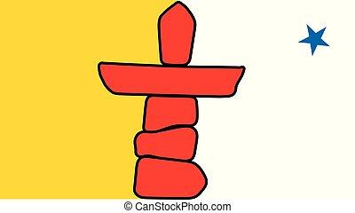 vecteur, territoire, drapeau, canada., nunavut