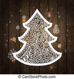 vecteur, texture bois, arbre., illustration, noël