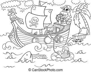 vecteur, thème, coloration, pirates, enfants