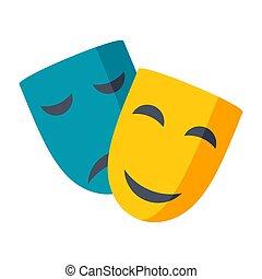 vecteur, théâtre, masques, icône