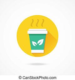 vecteur, thé, tasse papier, icône