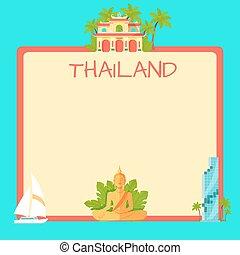 vecteur, thaïlande, concept, copyspace, touristique