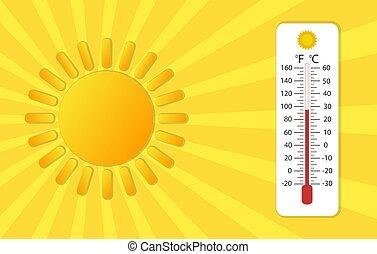 vecteur, thermomètre, soleil, stockage, jaune
