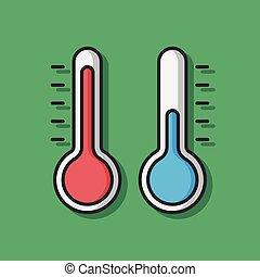 vecteur, thermomètre, température, icône