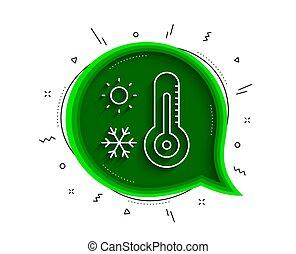 vecteur, thermomètre, temps, ligne, hiver, signe., icon., soleil, flocon de neige