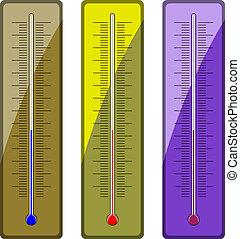 vecteur, thermomètres