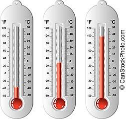 vecteur, thermomètres, ensemble