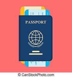 vecteur, tickets., passeport