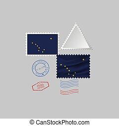 vecteur, timbre, image, alaska, flag., illustration., état, affranchissement