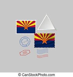 vecteur, timbre, image, arizona, flag., illustration., état, affranchissement