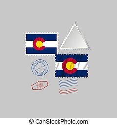 vecteur, timbre, image, colorado, flag., illustration., état, affranchissement