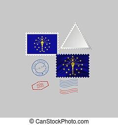 vecteur, timbre, image, illustration., flag., état, indiana, affranchissement