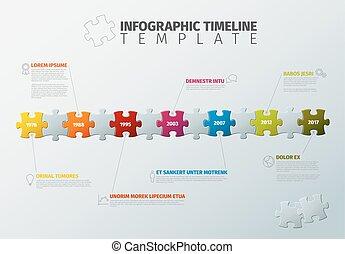 vecteur, timeline, puzzle, infographic, gabarit