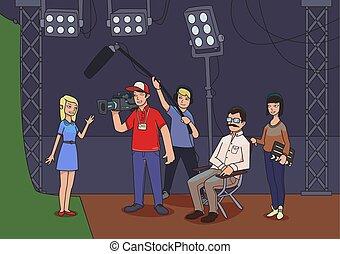 vecteur, tir, model., ou, cameramans, actrice, show., film, illustration, directeur, tv
