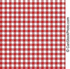 vecteur, tissu, checkered, pique-nique, rouges