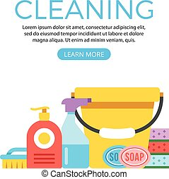 vecteur, toile, concept, bannière, nettoyage