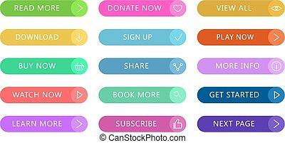 vecteur, toile, différent, ensemble, icônes, couleur, bouton, moderne, isolé, plat, boutons, application, website., ui, fond, blanc, icône, actions., design.
