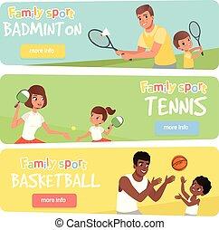 vecteur, toile, ensemble, famille, plat, badminton, app, tennis, site, children., leur, 3, lifestyle., parents, mobile, actif, bannières, sport, jouer, basketball., heureux