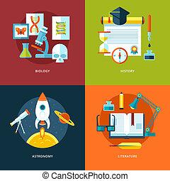 vecteur, toile, ensemble, icônes, mobile, apps., education, conception