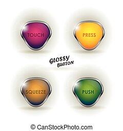 vecteur, toile, ensemble, illustration., coloré, sticker., brillant, moderne, argent, boutons, fond, conception, lustré, téléchargement, parole, bouton blanc, éléments, shadow., element.