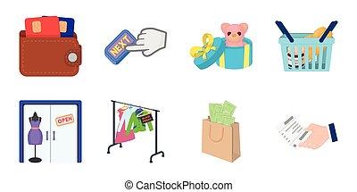 vecteur, toile, ensemble, illustration., icones affaires, symbole, collection, e-commerce, vente, design., achat, stockage
