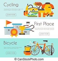 vecteur, toile, triathlon, illustration., vélo, bannière, affiche, text., site, concurrence, page, podium, course, endroit, repair., gabarit, cyclisme, uniforme, ton, champion