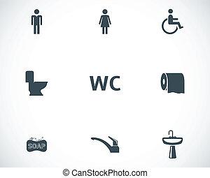 vecteur, toilette, ensemble, noir, icônes