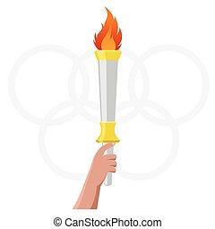 vecteur, torche, olympique