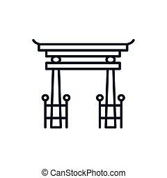 vecteur, tori, shinto, conception, portail