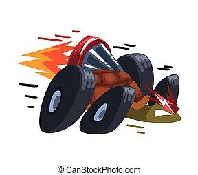 vecteur, tortue, illustration, vitesse, booster, tortue, roues, blanc, animal, fond, jeûne, brûler, caractère, dessin animé, turbo
