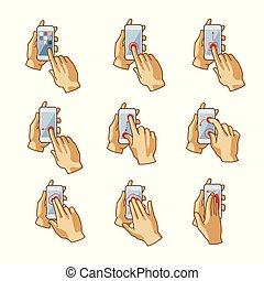 vecteur, touchscreen, smartphone, main, gestes, ensemble
