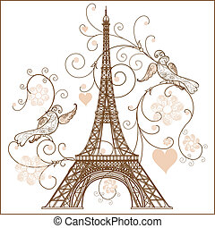 vecteur, tour, eiffel, illustration