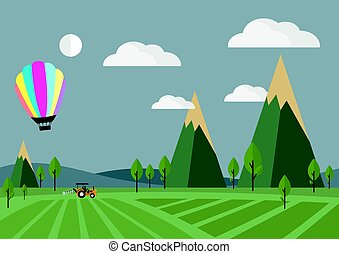 vecteur, tracteur, champ, balloon, illustration.