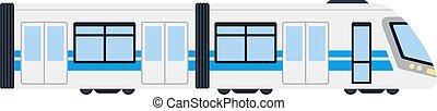 vecteur, train, électrique, plat, isolé, interurbain