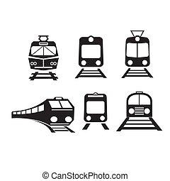 vecteur, trains, ensemble, isolé, icônes